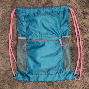 Land's End Blue and Pink Drawstring Bag